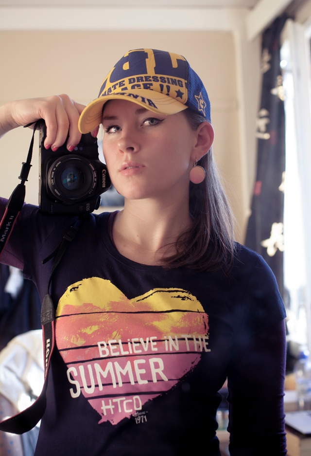 Me being all cool and summerish with the cap I bought in Japan 5 years ago and a t-shirt from Hungary.
